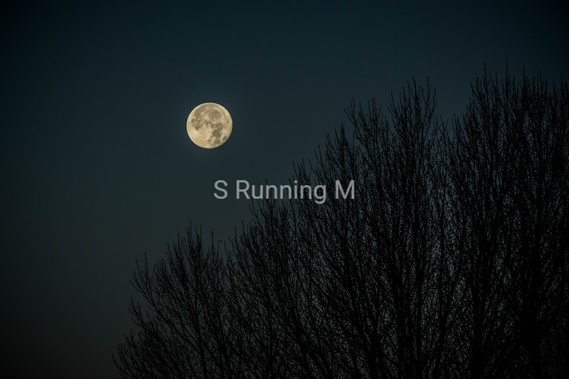 Full Moon Setting Over S Running M