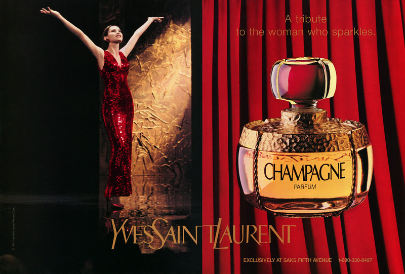 YVES SAINT LAURENT Champagne 1994 US spread (Saks Fifth Avenue) 'A tribute to a woman who sparkles'