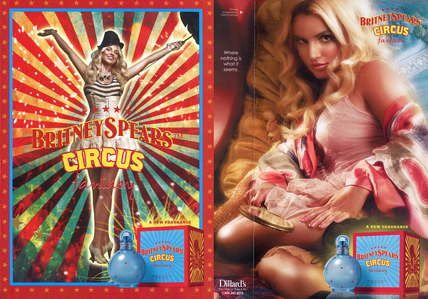 BRITNEY SPEARS Circus Fantasy 2009 US (Dillard's stores) recto-verso with scent strip 'Where nothig is what it seems - A new fragrance'
