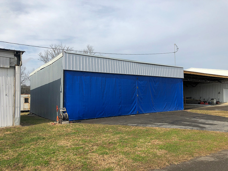 "Hangar is 39' wide, 27' 4"" deep and the door opening is 10' 3"" high. <br /> Has electric including  LED lighting, AC unit in office and a 220 plug for an air compressor . Outside water facet with connection to inside sink."