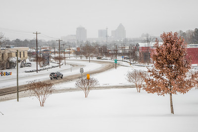 Snowy downtown Greensboro on 1/7/17 after 9 inches of snow.