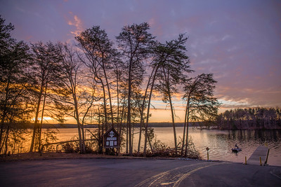 Sunrise at Belews Lake lit up by clouds from an incoming snow storm.  On 1/5/17.
