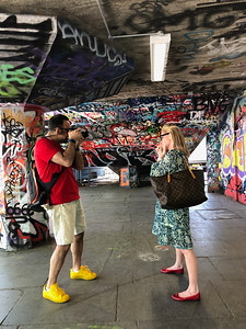 Photographing Penelope and Sydney for a London Independent Photographers exhibition image (Oblique Strategies theme - Voice Nagging Suspicions) using a full Panasonic Lumix G9 kit, carried in my Mindshift Gear Photocross 15. South Bank Skate Park. London, UK. May 06, 2018. Photo: Vahe Saboonchian