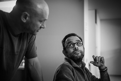 A photo of Edmond Terakopian, in conversation with book designer Stuart Smith, Smith Design. London. October 20, 2017. Photo: Daniel Beltra