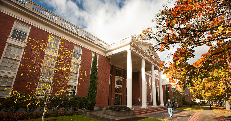 law school exterior on fall day showing foliage