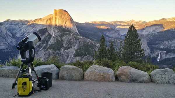 My first 11 inch CPC at 7500 ft elevation Glacier Point,  Yosemite National Park - Half Dome and Nevada Falls in the background at truly amazing location
