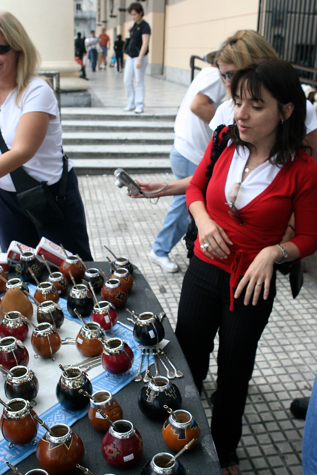 Mate is a traditional South American infused drink, particularly in Argentina.   It is prepared from steeping dried leaves of yerba mate in hot water.  You can purchase mate on many streets and cafes.
