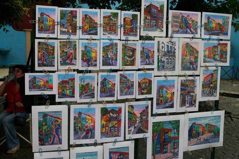 Artists line the streets of LaBoca selling paintings of the bright colored buildings in the neighborhood.