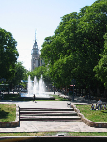 Plaza Independencia in the center of Mendoza.