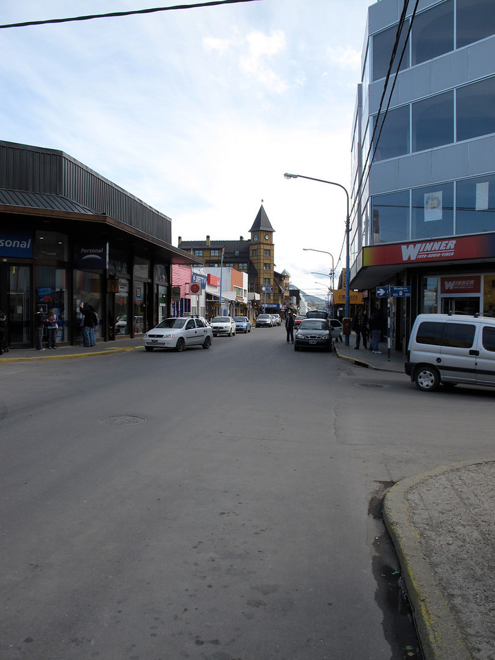 A look down the main commercial street in Ushuaia.