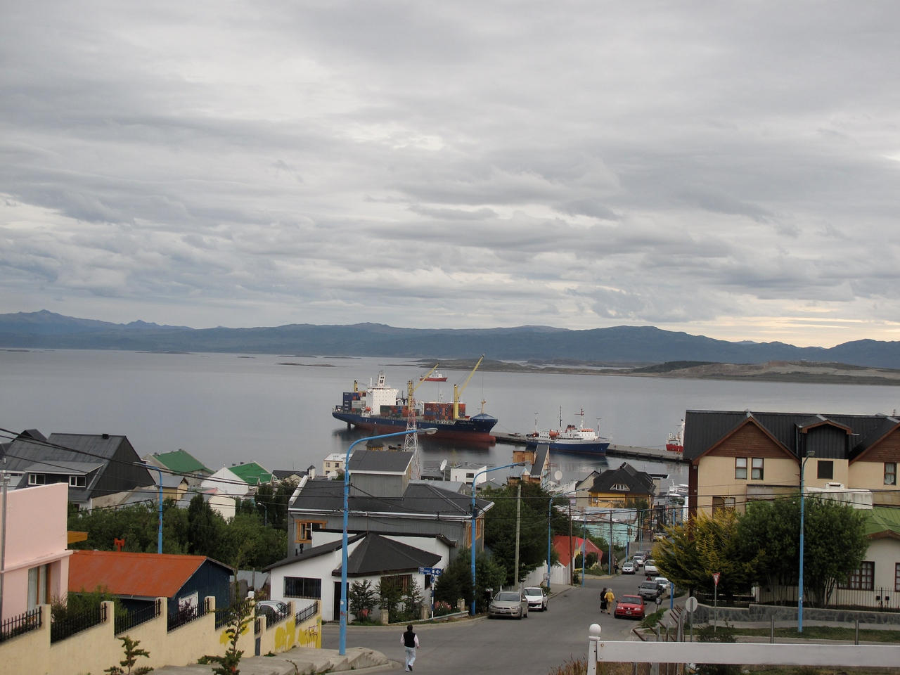 Tierra del Fuego is split in half by Argentina and Chile.  Here, as you look towards the bay in Ushuaia, you can see the mountains in Chile in the distance.