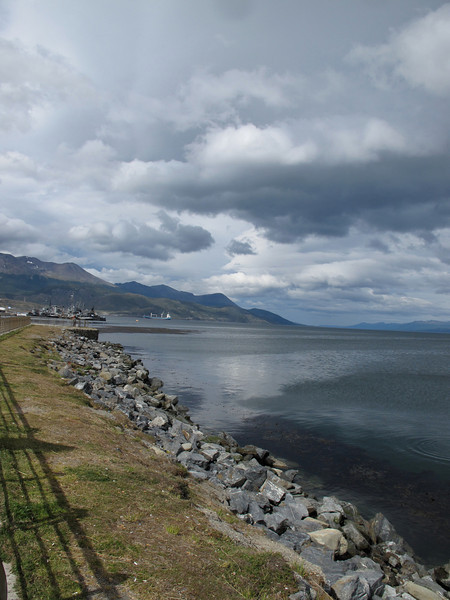 The Beagle Channel, just outside Ushuaia.  The channel is 150 miles long and three miles wide at the narrowest point.  It empties into the Drake Passage & Pacific Ocean.