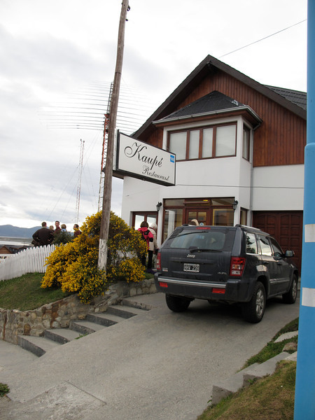 """Our """"send off"""" dinner is at Kaupe Restaurant on the hill overlooking the downtown area of Ushuaia.  The food here is phenomenal.  Kaupe means """"to be at home""""."""
