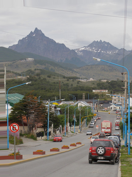 Ushuaia, which sits on the island of Tierra del Fuego at the end of South America is surrounded by mountains.
