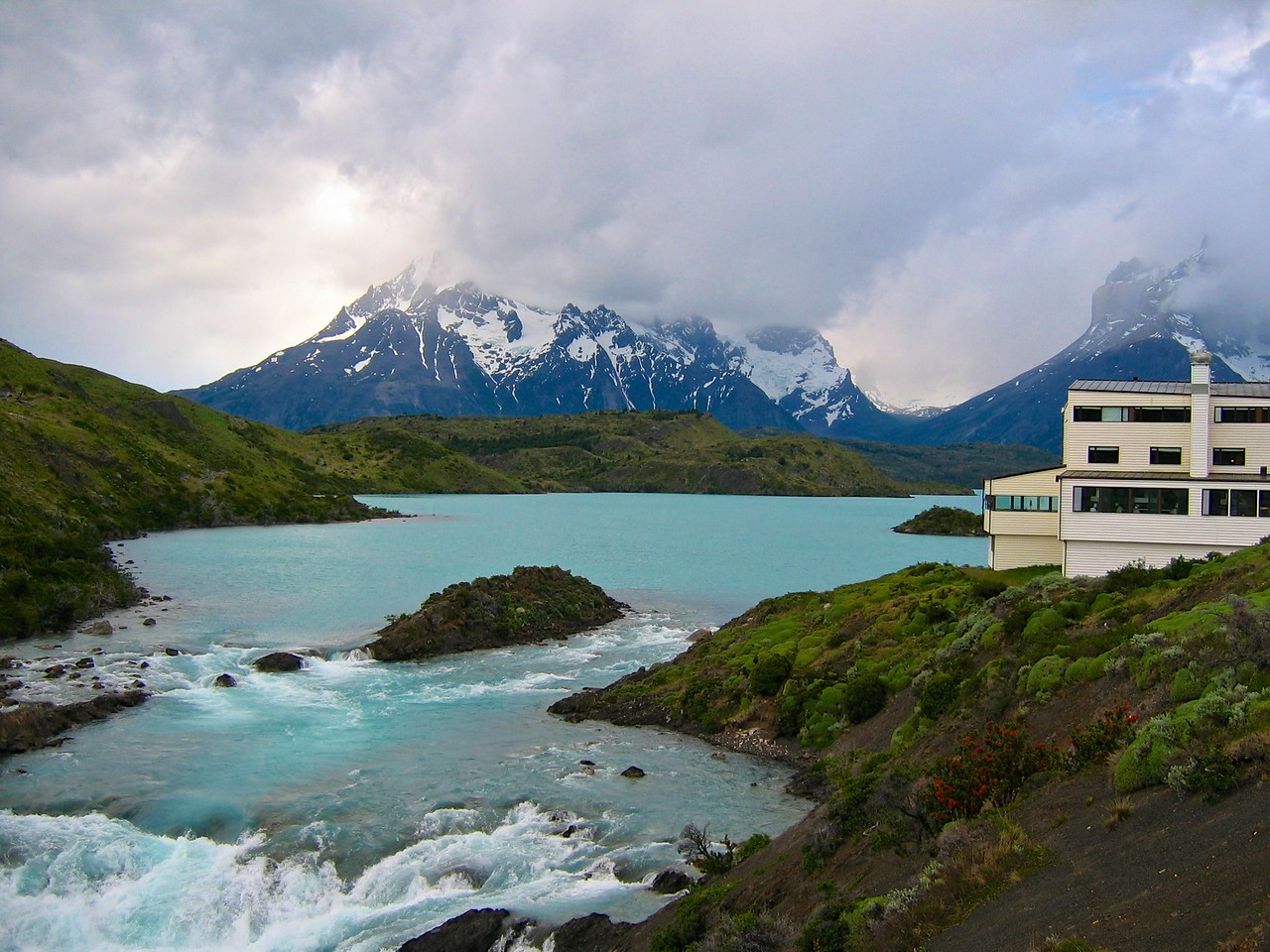Explora Patagonia opened in 1993 on the banks of the Salto Chico waterfall. It affords an excellent view of the unique Paine Massif and two of the three impressive torres, or towers, which give the park its name. (when the clouds are not too low)