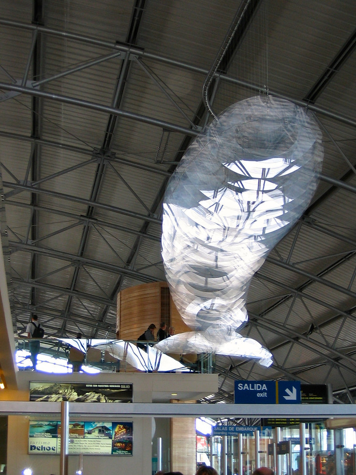 Punta Arenas is the southernmost city in Chile.  Inside the airport, there's a large flying whale, made of acrylic panels.