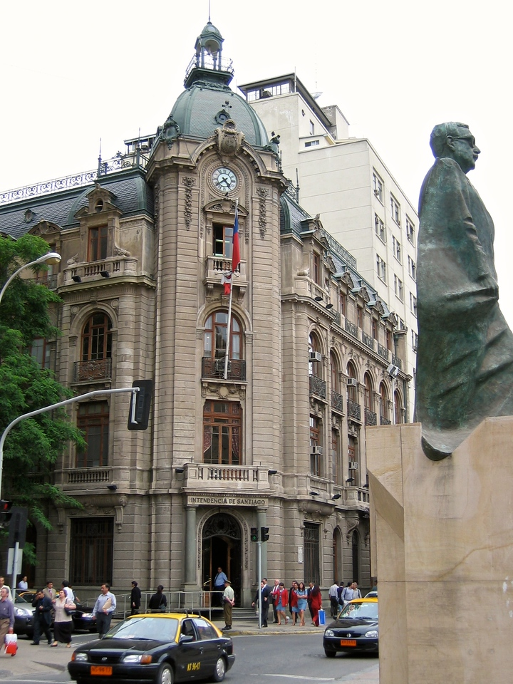 The Intedencia Santiago, which is a government building just off of the Plaza.