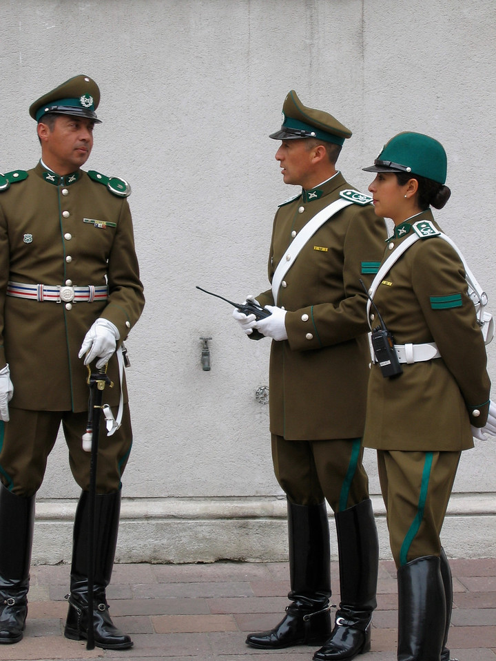 Shiny-booted carabineros (police) stamp through a brief changing-of-the-guard ceremony every other day at 10am.