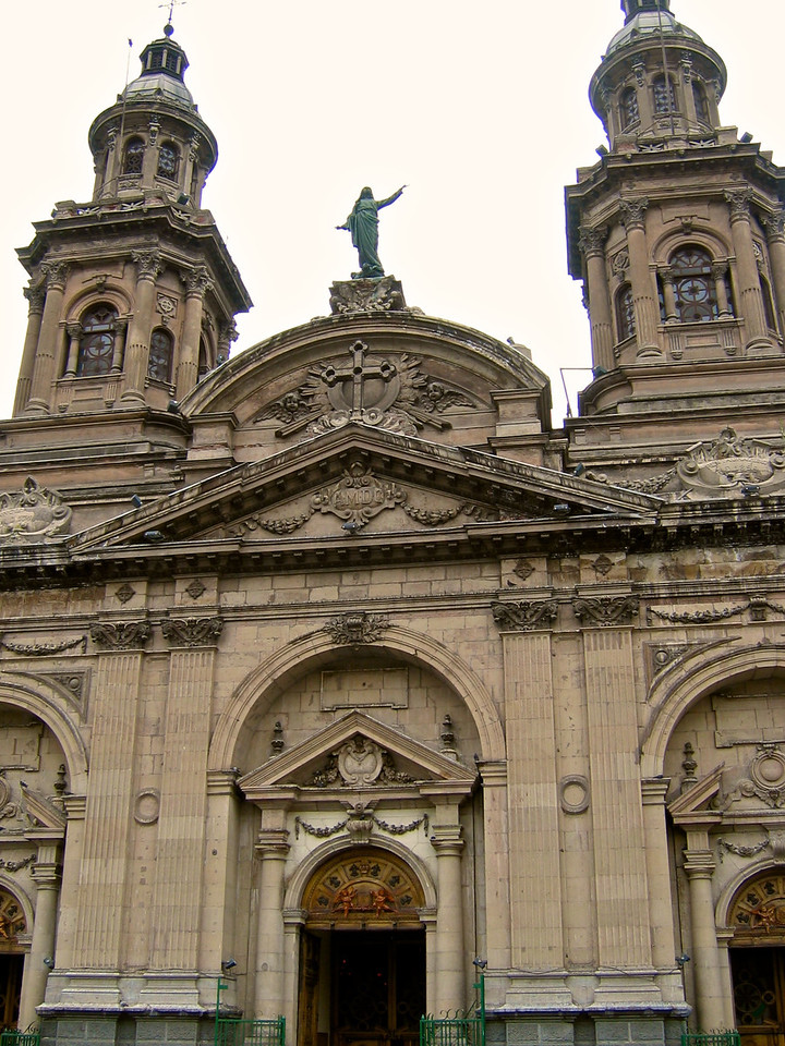 The Metropolitan Cathedral of Santiago (Spanish: Catedral Metropolitana de Santiago) is the seat of the Archbishop of Santiago de Chile and the center of the archdiocese of Santiago de Chile. Construction of the cathedral began in 1748 and ended in 1800; further alterations ordered at the end of the 19th century give it its present appearance.[1] Previous cathedrals in the archdiocese had been destroyed by earthquakes.[1]<br /> The cathedral, located in the city's historic center, faces Santiago's Plaza de Armas