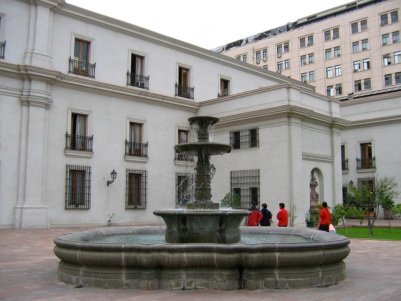 The north facade was badly damaged by air-force missile attacks during the 1973 military coup when President Salvador Allende – who refused to leave – was overthrown here.