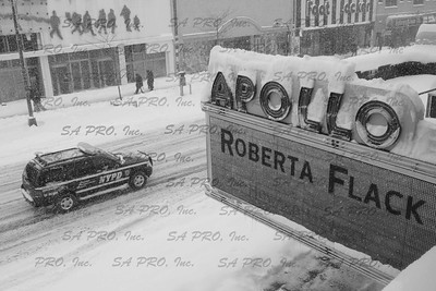 The new Apollo Theater marquee covered by snow on 125th Street in Harlem, New York  during 2006 snow storm.