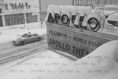 The new Apollo Theater marquee covered by snowon 125th Street in Harlem, New York  during 2006 snow storm.