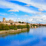 Zamora skyline by Duero river of Spain
