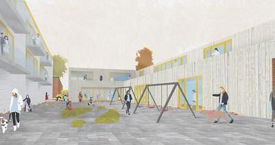 Vue de l'espace public récréatif - Lauréat - Jade Beltran, Cindy Colombo, Raphaëlle Leclerc - ENTRE L'ÉCOLE ET LA VILLE