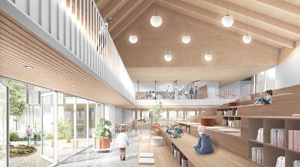 Perspective des gradins - APPAREIL Architecture + Étienne Bernier Architecture + BGLA - Lauréat Lab-École - Saguenay