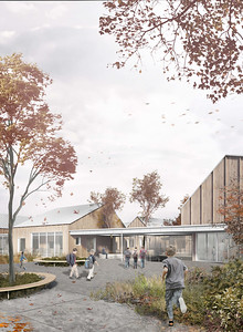 Perspective de l'entrée - APPAREIL Architecture + Étienne Bernier Architecture + BGLA - Lauréat Lab-École - Saguenay