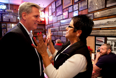 BAKERSFIELD, CA--- Rep. Kevin McCarthy chats with Jan Bans,rt, at Luigi's Delicatessen in Bakersfield. McCarthy has been appointed the Chief Deputy Republican Whip for the 111th Congress. McCarthy is a gregarious, energetic, GOP member that sleeps five hours a night and would rather discuss policy  and not politics.