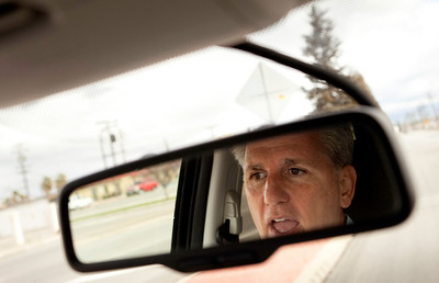 BAKERSFIELD, CA--- Rep. Kevin McCarthy drives his car on the way to lunch in Bakersfield. McCarthy has been appointed the Chief Deputy Republican Whip for the 111th Congress. It was just eight years ago when he was elected to the California Assembly. McCarthy played football at Bakersfield High School and uses a 'game plan' strategy in his political processes. McCarthy is a gregarious, energetic, GOP member that sleeps five hours a night and would rather discuss policy  and not politics.