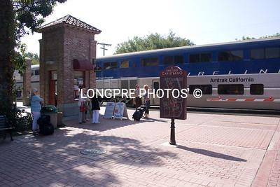Train at crossing. San Juan Depot and Los Rios area.