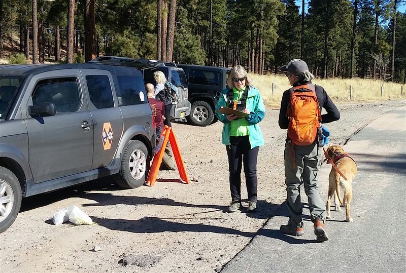 Wendee, Carole, and Santi at multi-team Area Dog Test