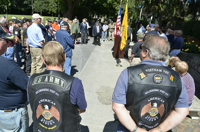 J.S.Carras/DIgitalfirstmedia.com  Vietnam Veterans gather on Circular Street near Congress Park to remember the 50th anniversary of of the Vietnam War Friday, August 29, 2014 in Saratoga Springs, N.Y..