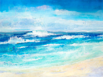 "Sand, Water, Sky-Martin, 36""x48"" acrylic painting on loose canvas"