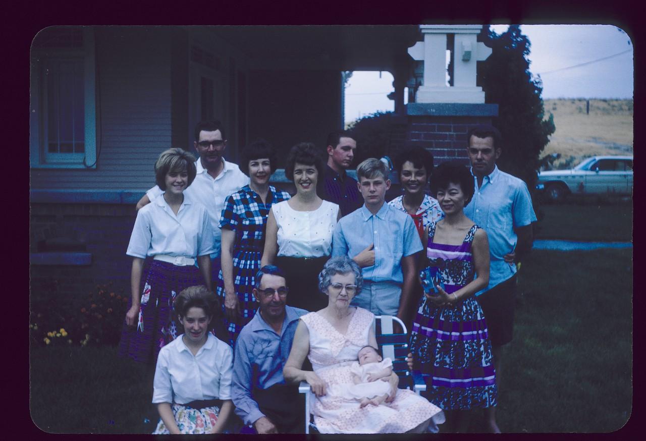 Eldon, Bill, Steve, Sandi, Vicky, Donna, Louise, June, Lowell, Gayle, Gma and Gpa Saylor, Lisa, August, 1963, Ranch