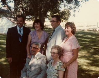 Gma and Gpa Saylor on their 60th anniversary, Lowell, Donna, Eldon, Mom