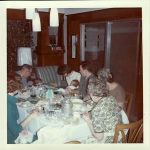 Mom, Gpa Saylor, Lisa, Gayle, Margaret, Lowell, Nelma, Gma Saylor Christmas 1964, Ranch