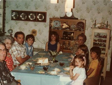 Gpa and Gma Saylor, Nelma, Lowell, Andy, Margaret, David, Joe, Laura Ranch 1979