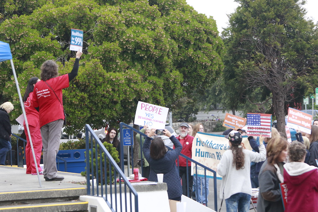 . About 60 people rallied at the Humboldt County Courthouse in Eureka in support of SB 562, the single-payer health care bill stalled in state Legislature, on Tuesday morning. (Hunter Cresswell - The Times-Standard)