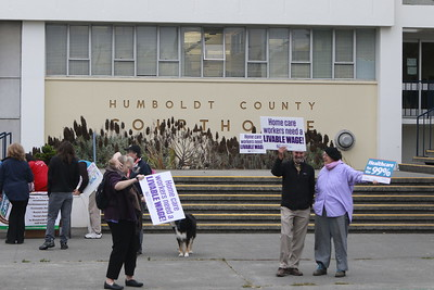 About 60 people rallied at the Humboldt County Courthouse in Eureka in support of SB 562, the single-payer health care bill stalled in state Legislature, on Tuesday morning. (Hunter Cresswell - The Times-Standard)
