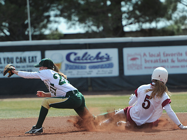 Emma Adams (5) slides into second base<br /> <br /> Photo Credit: Tim Barnett-Queen