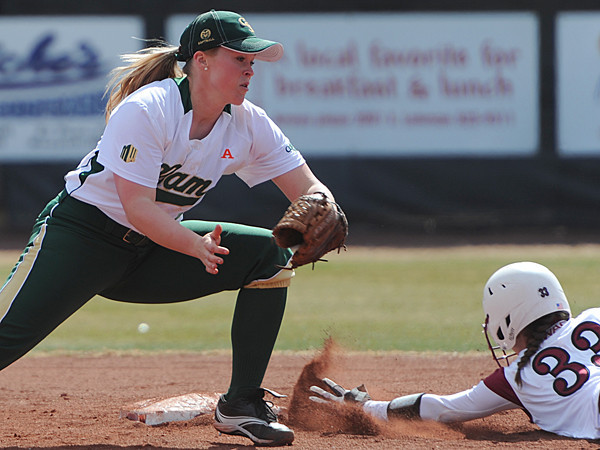 Kristi Covarrubia (33) slides into second ahead of the tag.<br /> <br /> Photo Credit: Tim Barnett-Queen