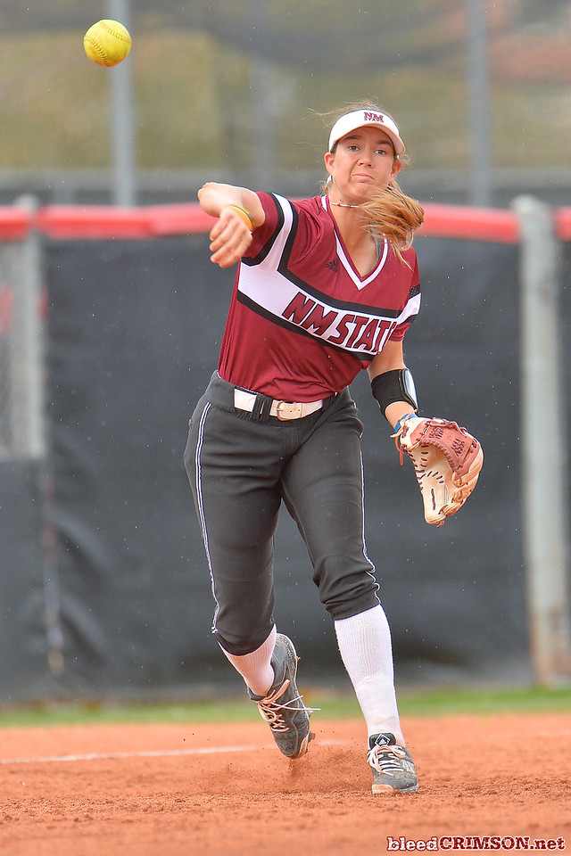March 6, 2016: NM State third baseman Emma Adams makes a throw to first base in a game between New Mexico State and No. 7 Oregon at the 2016 Alexis Park Resort Classic at Eller Media Stadium in Las Vegas, Nevada. The Aggies lost to the Ducks 8-0 via run rule.