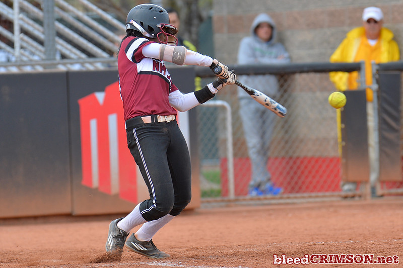 March 6, 2016: NM State second baseman Rachel Rodriguez connects on a pitch in a game between New Mexico State and No. 7 Oregon at the 2016 Alexis Park Resort Classic at Eller Media Stadium in Las Vegas, Nevada. The Aggies lost to the Ducks 8-0 via run rule.