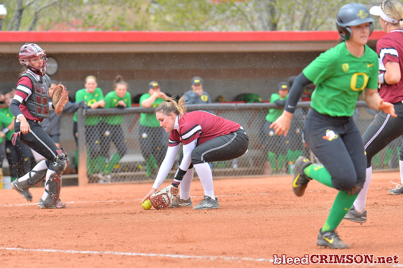 March 6, 2016: NM State pitcher Makayla McAdams fields a bunt in a game between New Mexico State and No. 7 Oregon at the 2016 Alexis Park Resort Classic at Eller Media Stadium in Las Vegas, Nevada. The Aggies lost to the Ducks 8-0 via run rule.