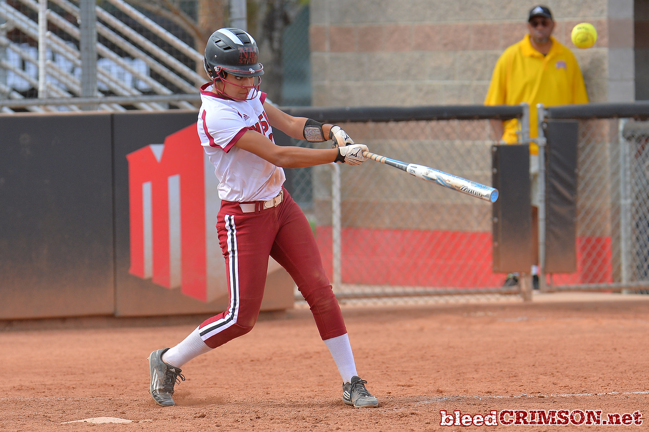 March 5, 2016: NM State center fielder Victoria Castro gets a hit in a game between New Mexico State and Saint Mary's College at the 2016 Alexis Park Resort Classic at Eller Media Stadium in Las Vegas, Nevada. The Aggies defeated the Gaels via run rule 12-4.