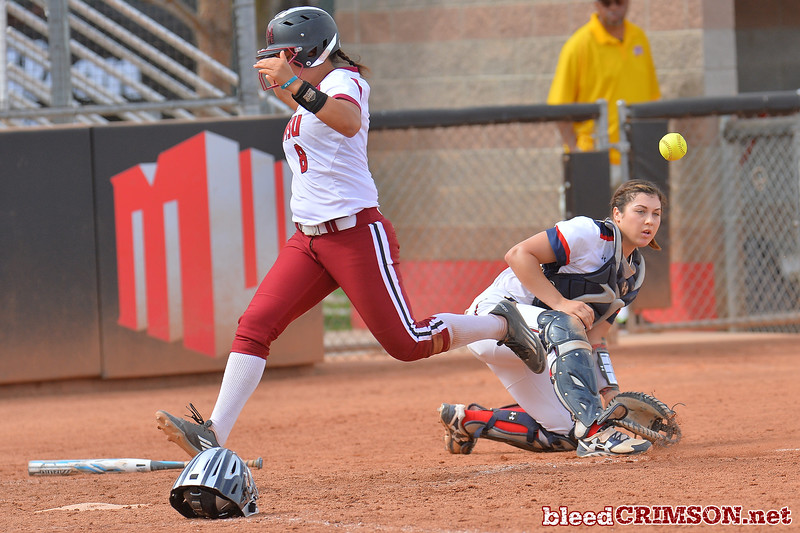 March 5, 2016: NM State shortstop Haley Nakamura beats a throw home to score a run in a game between New Mexico State and Saint Mary's College at the 2016 Alexis Park Resort Classic at Eller Media Stadium in Las Vegas, Nevada. The Aggies defeated the Gaels via run rule 12-4.