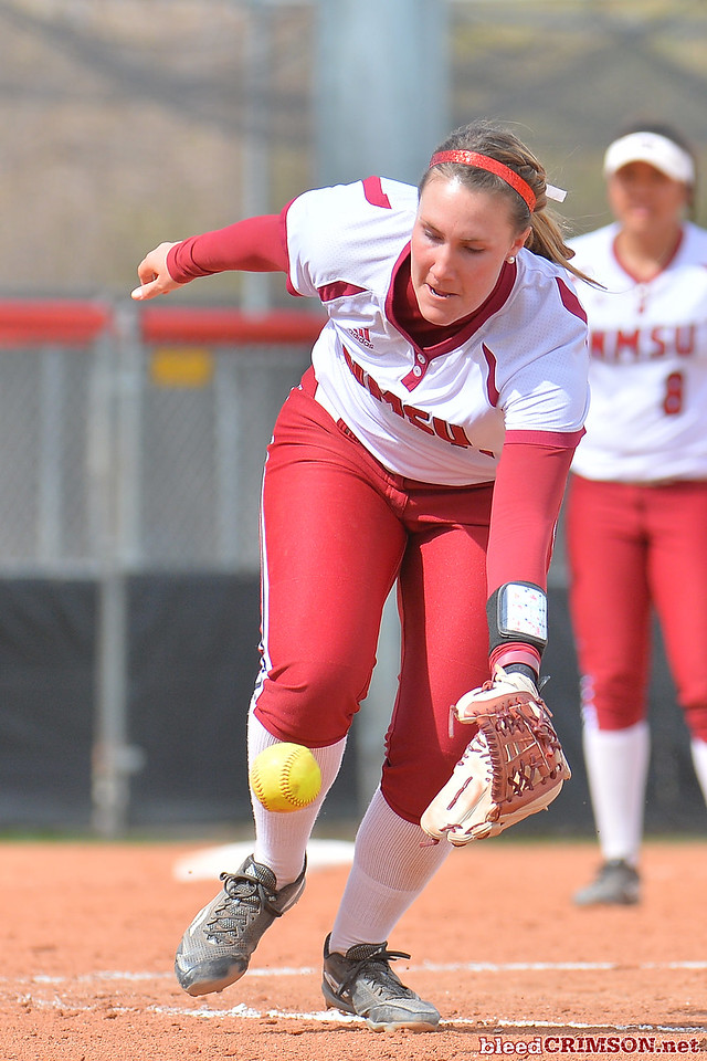 March 5, 2016: NM State pitcher Makayla McAdams fields a hit in a game between New Mexico State and Saint Mary's College at the 2016 Alexis Park Resort Classic at Eller Media Stadium in Las Vegas, Nevada. The Aggies defeated the Gaels via run rule 12-4.